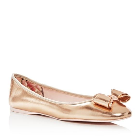 fd05af1d5534c8 New Ted Baker rose gold Immet ballet flats